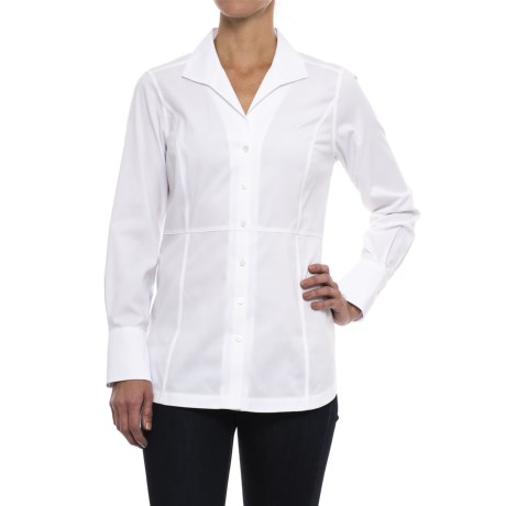 Foxcroft Harper Solid Stretch Non-Iron Tunic Shirt - Long Sleeve (For Women) in White