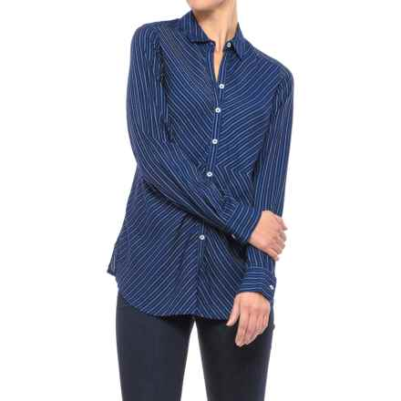 Foxcroft Hazel Pinstripe Shirt - Long Sleeve (For Women) in Navy - Closeouts