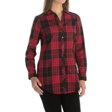 Foxcroft Hungting Plaid Tunic Shirt - Long Sleeve (For Women) in Rouge Red - Closeouts