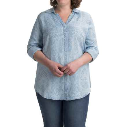Foxcroft Ivy Paisley Shirt - TENCEL®, Long Sleeve (For Plus Size Women) in Bluewash - Closeouts