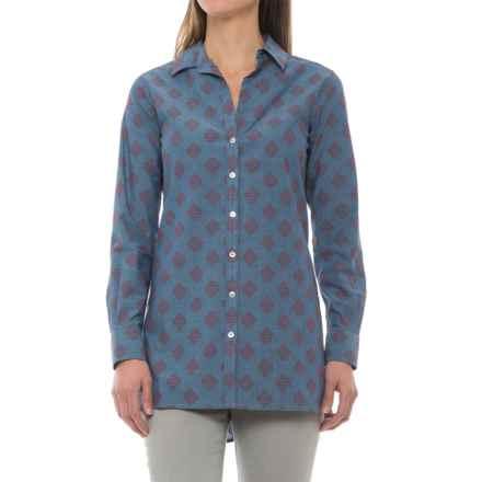 Foxcroft Jade Diamond Clip Dot Tunic Shirt - Long Sleeve (For Women) in Chambray - Closeouts
