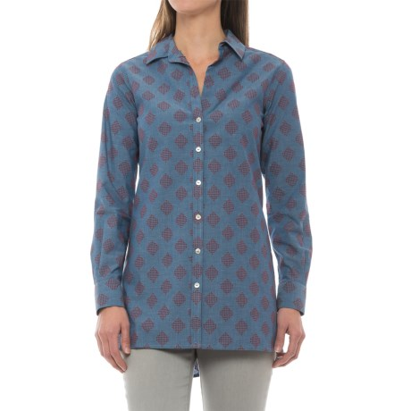 Foxcroft Jade Diamond Clip Dot Tunic Shirt - Long Sleeve (For Women) in Chambray