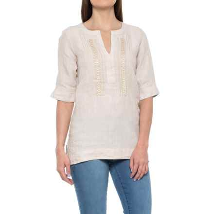 Foxcroft Jo Linen Tunic Shirt - Elbow Sleeve (For Women) in Flax - Overstock