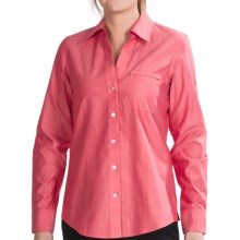 Foxcroft Johnny Collar Cotton Shirt - No Iron, Long Sleeve (For Women) in Cardinal - Closeouts