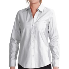 Foxcroft Johnny Collar Cotton Shirt - No Iron, Long Sleeve (For Women) in White - Closeouts