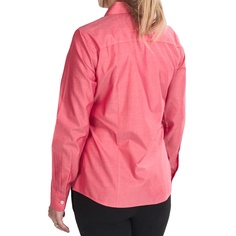 Foxcroft johnny collar cotton shirt for women 7028n for No iron cotton shirts
