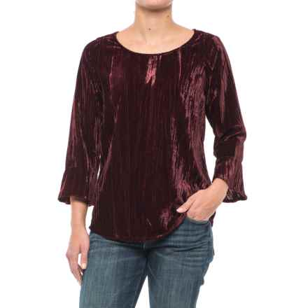 Foxcroft Korin Broomstick Velvet Shirt - Long Sleeve (For Women) in Port - Closeouts