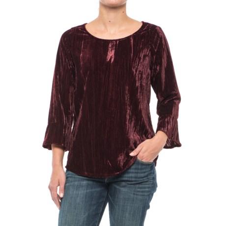 Foxcroft Korin Broomstick Velvet Shirt - Long Sleeve (For Women) in Port