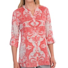 Foxcroft Lace Print Shirt - 3/4 Sleeve (For Women) in Multi - Closeouts
