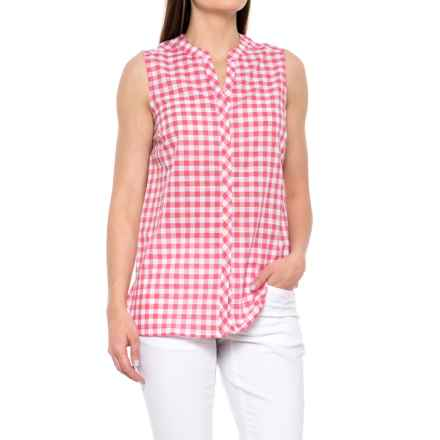 Foxcroft Leena Gingham Shirt - Sleeveless (For Women) in Hibiscus - Overstock
