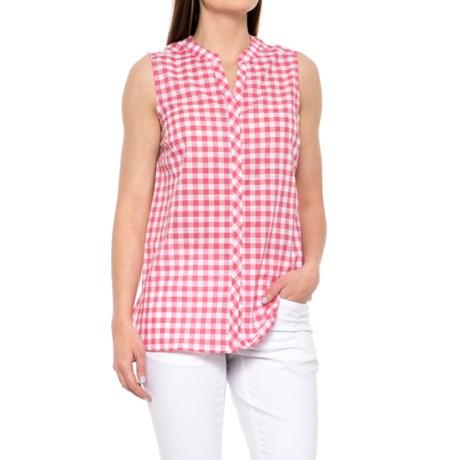Foxcroft Leena Gingham Shirt - Sleeveless (For Women) in Hibiscus