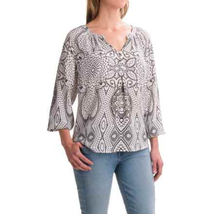 Foxcroft Liza Geo Paisley Peasant Top - Long Sleeve (For Women) in White - Closeouts