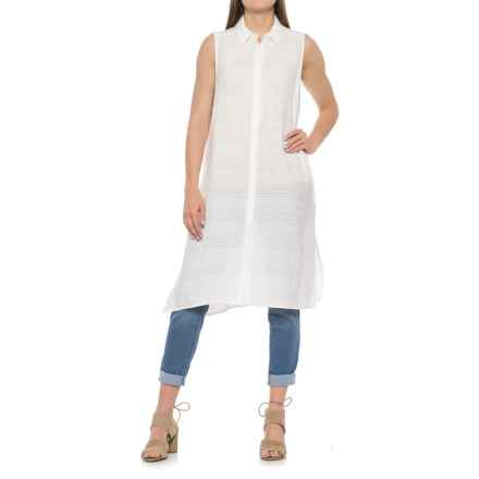Foxcroft London Leno Stripe Maxi Tunic Shirt - Sleeveless (For Women) in White - Overstock