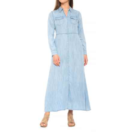 Foxcroft Mara Dress - TENCEL®, Long Sleeve (For Women) in Bluewash - Closeouts