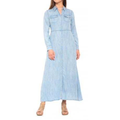 Foxcroft Mara Dress - TENCEL®, Long Sleeve (For Women) in Bluewash