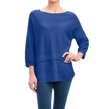 Foxcroft Mixed Texture Sweater - Linen, 3/4 Sleeve (For Women) in Periwinkle - Overstock