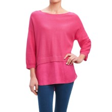 Foxcroft Mixed Texture Sweater - Linen, 3/4 Sleeve (For Women) in Shocking Pink - Overstock
