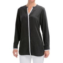 Foxcroft Modal Split Neck Blouse - Long Sleeve (For Women) in Slate - Closeouts