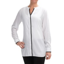 Foxcroft Modal Split Neck Blouse - Long Sleeve (For Women) in White - Closeouts