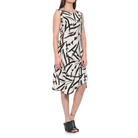 Foxcroft Morgan Brushstroke Floral Dress - Linen, Sleeveless (For Women) in Flax - Overstock