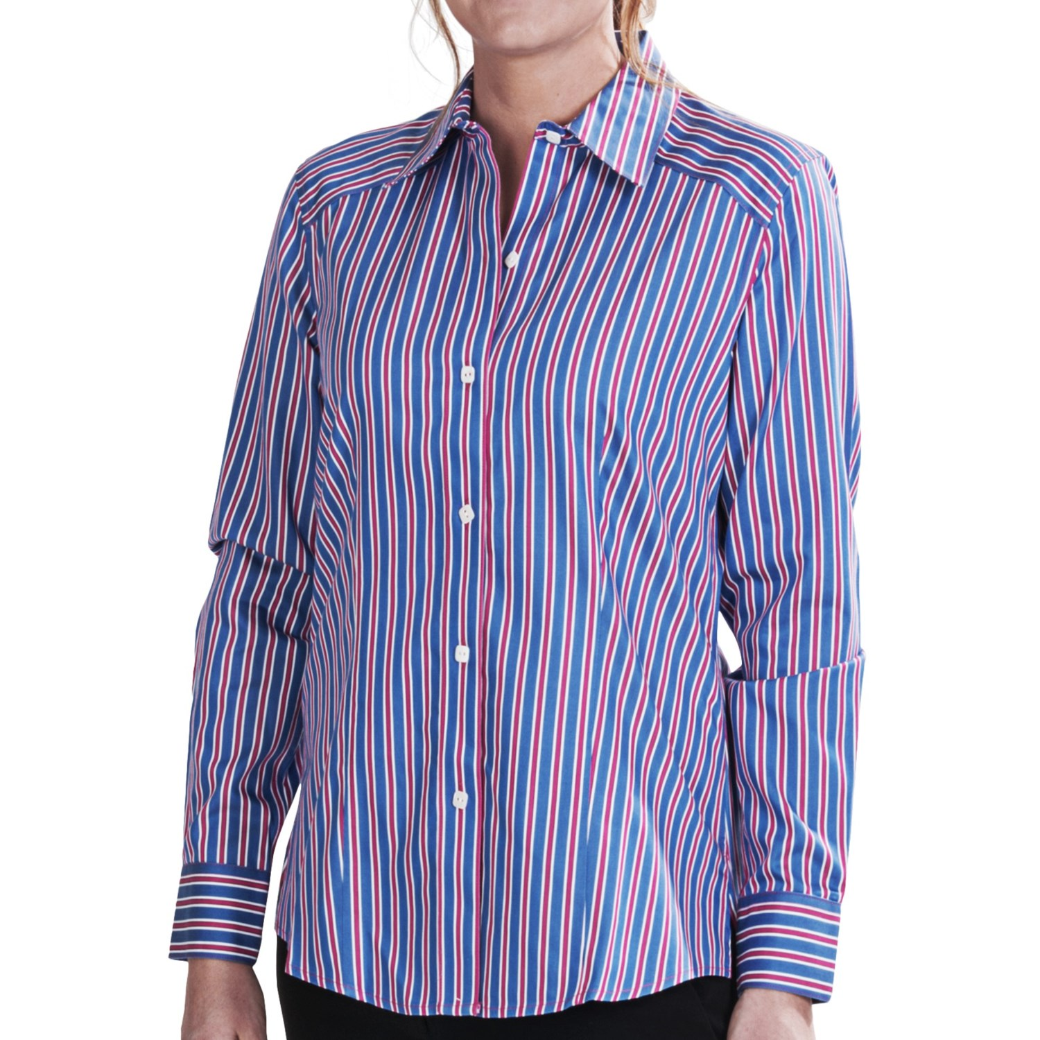 foxcroft multi stripe fitted shirt no iron cotton long