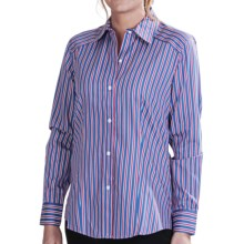 Foxcroft Multi-Stripe Fitted Shirt - No-Iron Cotton, Long Sleeve (For Women) in True Blue - Closeouts
