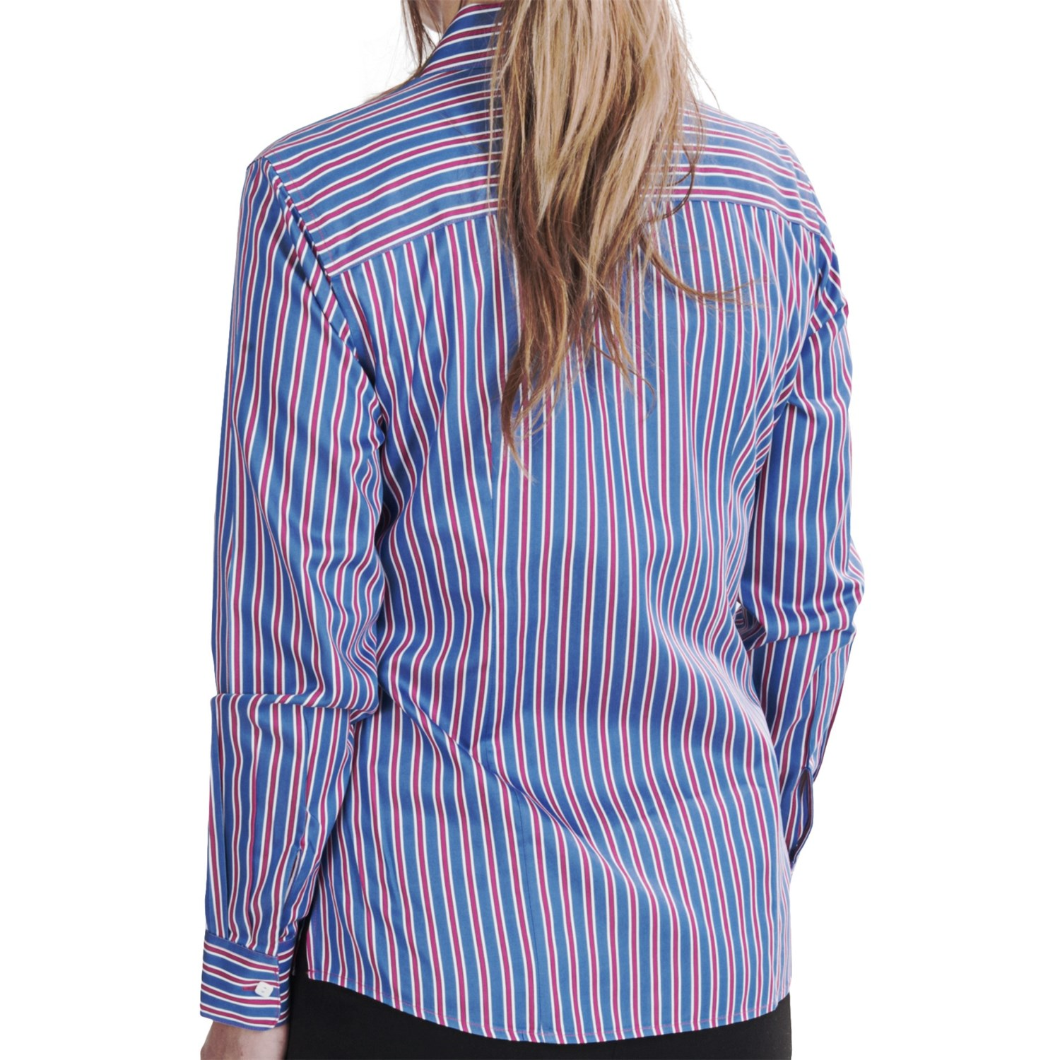 foxcroft multi stripe fitted shirt for women 7028k