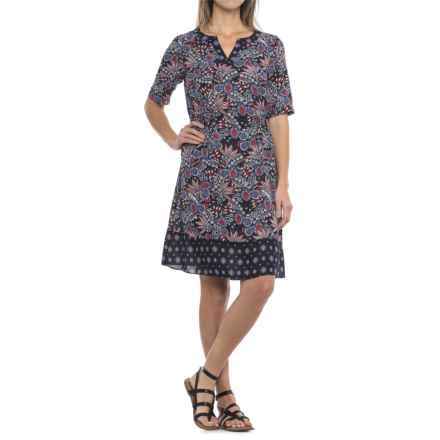 Foxcroft Nellie Paisley Dress - Elbow Sleeve (For Women) in Navy Multi - Closeouts
