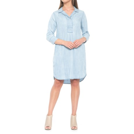 Foxcroft Nikki Dress - TENCEL®, 3/4 Sleeve (For Women) in Bluewash