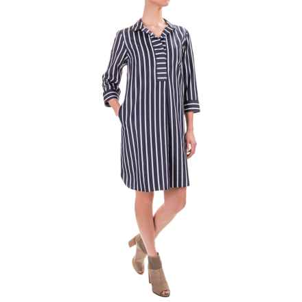 Foxcroft Nikki Non-Iron Dress - Cotton Sateen, 3/4 Sleeve (For Women) in Club Stripe - Closeouts