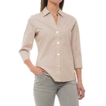 Foxcroft Paige Non-Iron Shirt - 3/4 Sleeve (For Women) in Sand - Closeouts