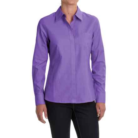 Foxcroft Pinpoint Oxford Non-Iron Shirt - Long Sleeve (For Women) in Eggplant - Closeouts