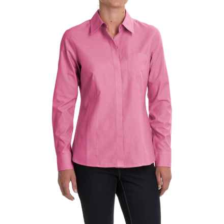 Foxcroft Pinpoint Oxford Non-Iron Shirt - Long Sleeve (For Women) in Pinkness - Closeouts