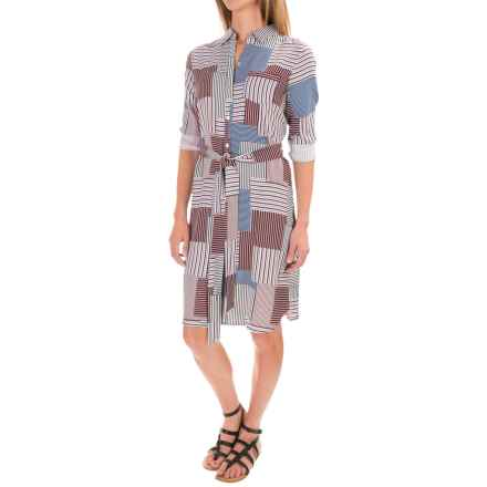 Foxcroft Rayon Twill Patchwork Shirt Dress - Long Sleeve (For Women) in Multi - Closeouts