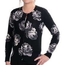 Foxcroft Rose Print Cardigan Sweater (For Women) in Black - Closeouts