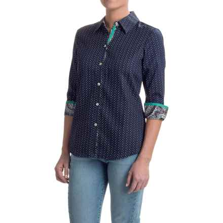 Foxcroft Sateen Shaped Shirt - 3/4 Sleeve (For Women) in Multi - Closeouts