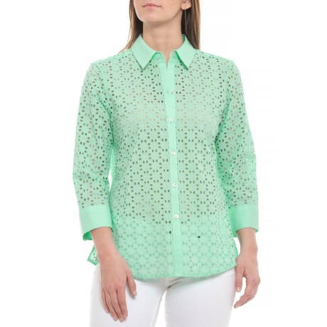 7b37ed62 Foxcroft Seaglass Ava Eyelet Shirt - 3/4 Sleeve (For Women) in Seaglass