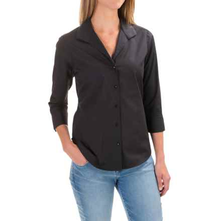 Foxcroft Shaped Button-Down Shirt - 3/4 Sleeve (For Women) in Black - Closeouts