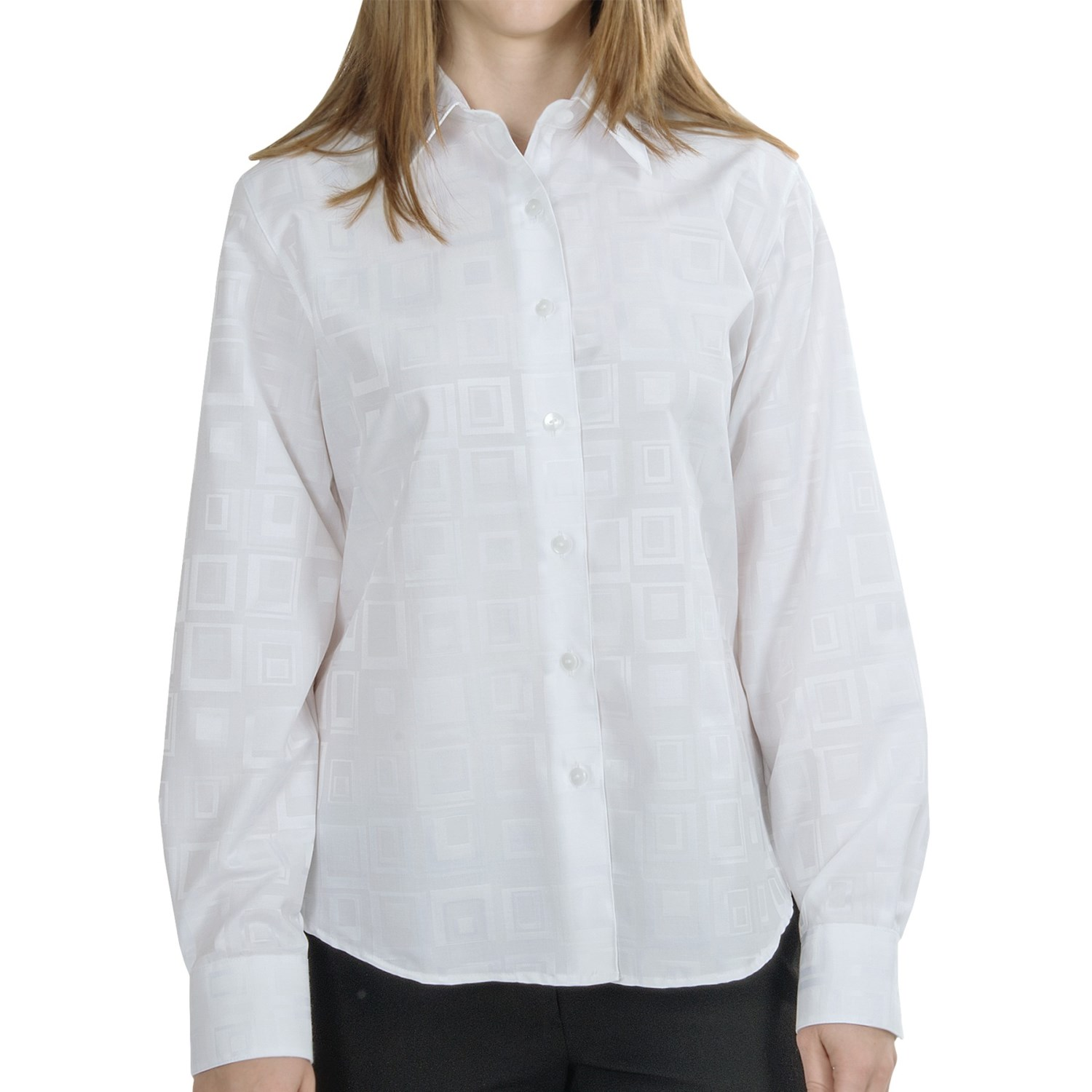 Foxcroft shaped jacquard shirt wrinkle free long sleeve Wrinkle free shirts for women