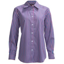 Foxcroft Shaped Multi-Stripe Shirt - Wrinkle-Free, Long Sleeve (For Plus Size Women) in True Blue - Closeouts