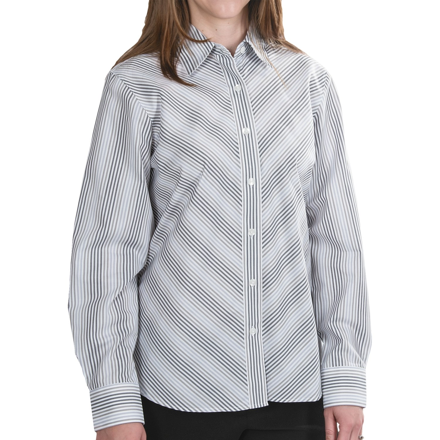 Foxcroft shaped oxford stripe shirt wrinkle free long Wrinkle free shirts for women
