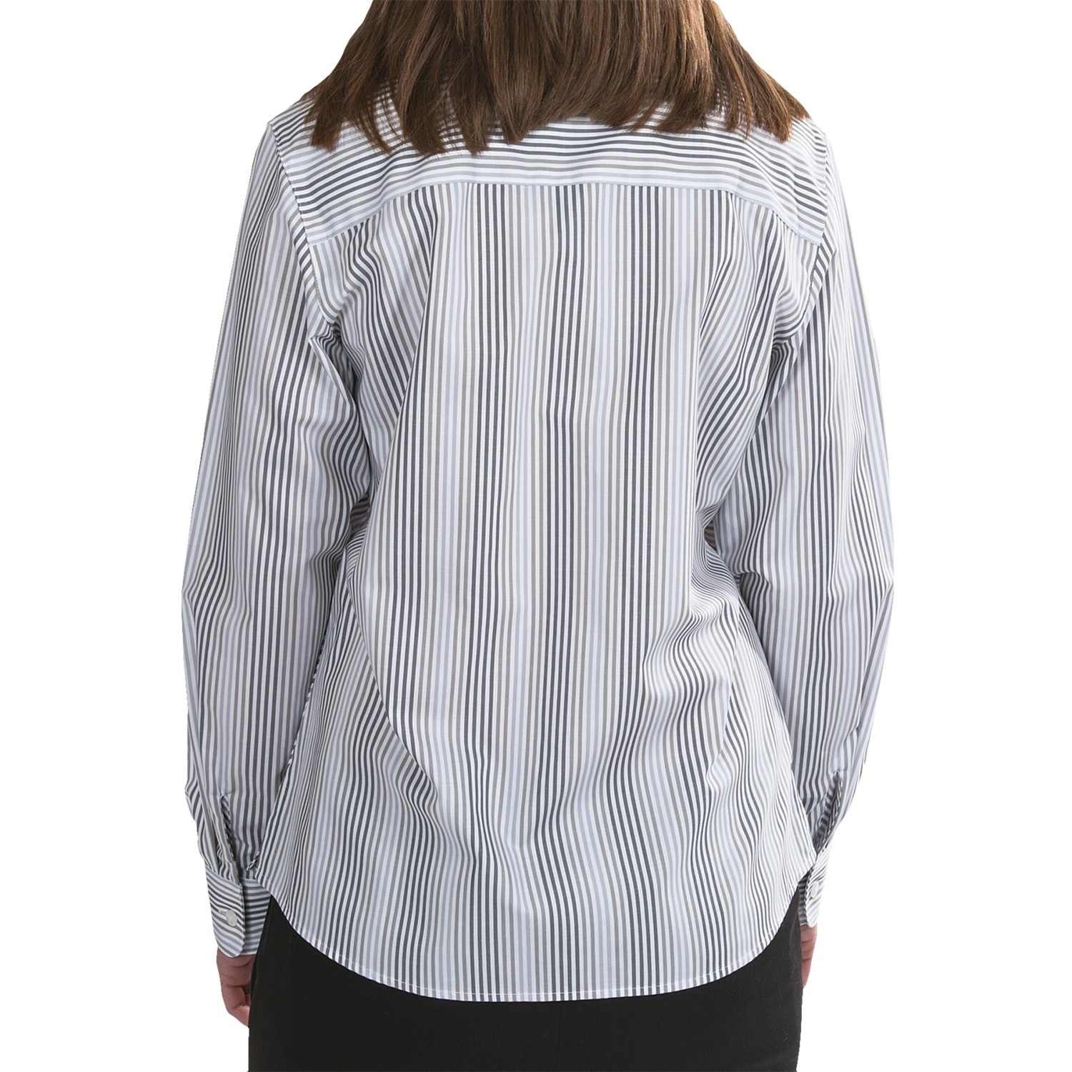 Foxcroft shaped oxford stripe shirt for women 6630m Wrinkle free shirts for women