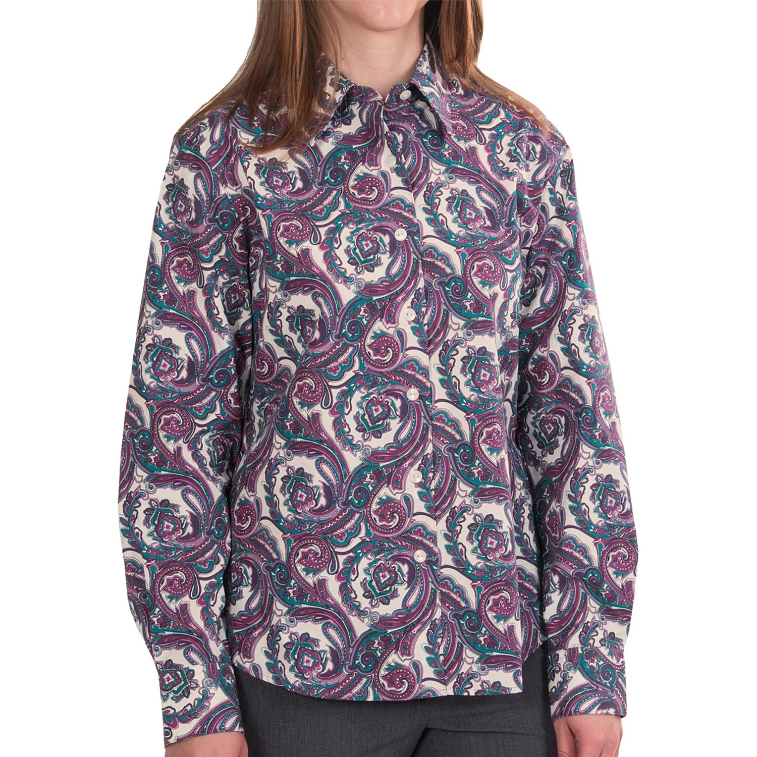 Foxcroft shaped paisley shirt wrinkle free long sleeve Wrinkle free shirts for women