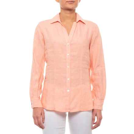 Foxcroft Shell Coral Shay Linen Shirt - Long Sleeve (For Women) in Shell Coral - Closeouts