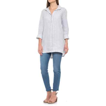 Foxcroft Skye Stripe Tunic Shirt - Linen, 3/4 Sleeve (For Women) in Earl Grey - Overstock