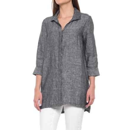 Foxcroft Skye Tunic Shirt - Linen, 3/4 Sleeve (For Women) in Black - Overstock