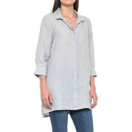 Foxcroft Skye Tunic Shirt - Linen, 3/4 Sleeve (For Women) in Earl Grey - Overstock