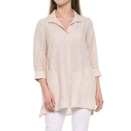 Foxcroft Skye Tunic Shirt - Linen, 3/4 Sleeve (For Women) in Flax - Overstock