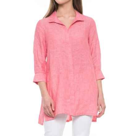 Foxcroft Skye Tunic Shirt - Linen, 3/4 Sleeve (For Women) in Hibiscus - Overstock
