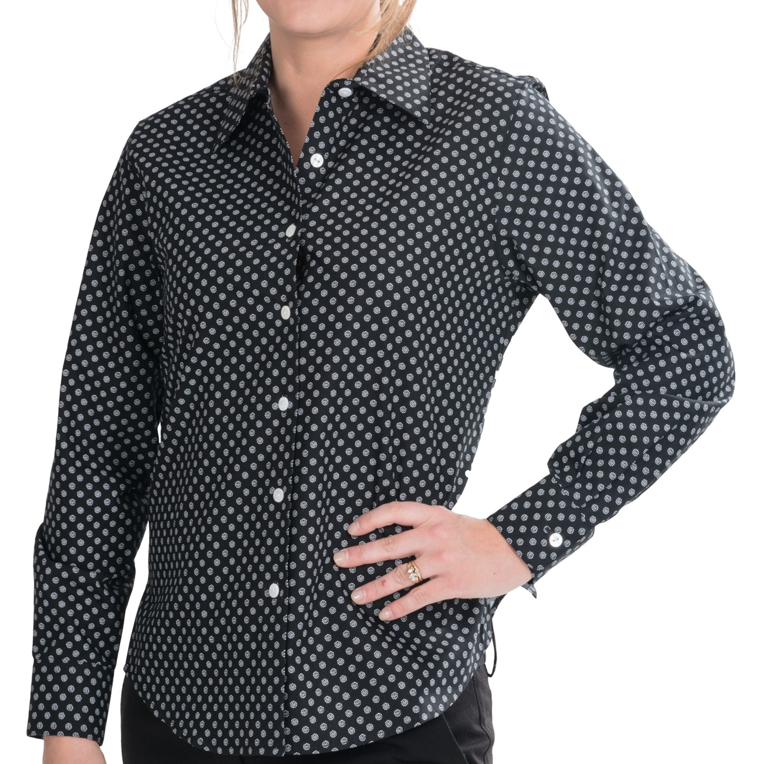 Foxcroft Soft Dots Shirt Wrinkle Free Cotton Long